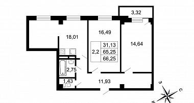 Планировка Трёхкомнатная квартира (Евро) площадью 66.25 кв.м в ЖК «Родные берега (руки)»